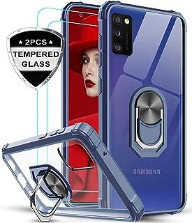 LeYi Funda Samsung Galaxy A41 con [2-Unidades] Cristal Vidrio Templado,Transparente Carcasa con 360 Grados iman Soporte Silicona Bumper Antigolpes Armor Case para Movil A41,Clear Azul