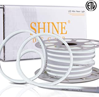 Shine Decor 7x14.5mm Dimmable LED Neon Lights, 50ft 6500K Cool White, 110V Flexible Waterproof Rope Lights, 2835 120LEDs/M, for Indoor Outdoor Commercial Lighting Decoration, Accessories Included