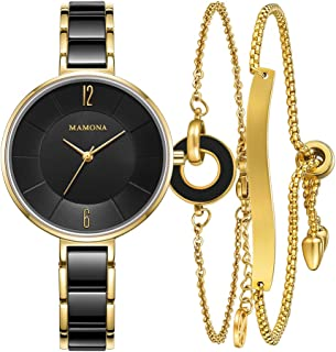Ladies Quartz Watch Women bracelet set-MAMONA Gold Black Ceramic and Stainless Steel Watch Set 3887LBKT