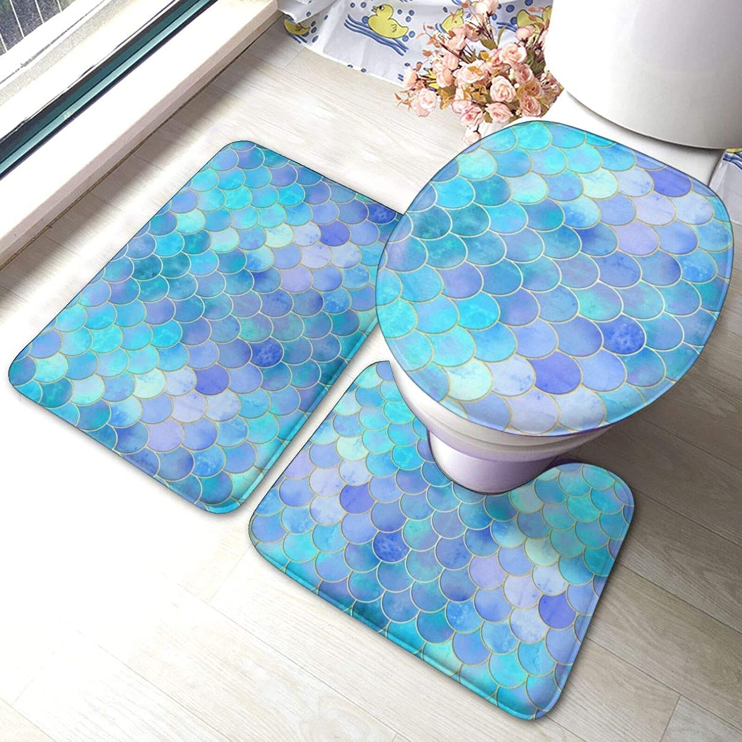 ARRISLIFE Limited time trial price Bathroom Rugs Set 3 Piece Gold Max 58% OFF Scale Printed A Mermaid