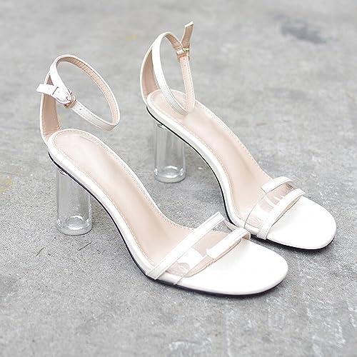 DIDIDD Sandales Transparentes Crystal Thick avec Boucle de Mot Wild Fairy chaussures Chaussures à Talons Hauts,Blanc,38