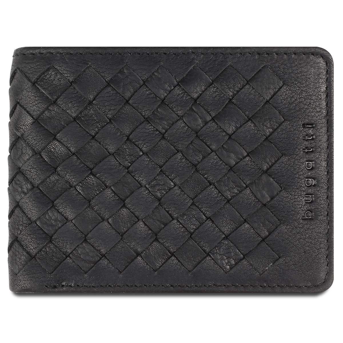 Woven Portefeuilles, Portefeuille Homme en Cuir 6CC avec Porte Monnaie, Format Horizontal Petit - Noir