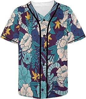 Men's Baseball Jersey T-Shirts Plain Button Down Sports Tee Gilded Jungle