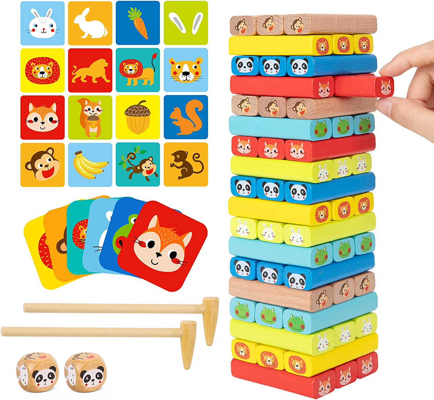 famous TOOKYLAND Colored Inexpensive Wooden Blocks Stacking Tumble Board Games Towe