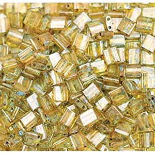 Picasso Saffron Transparent Tila Beads 7.2 Gram Tube By Miyuki Are a 2 Hole Flat Square Seed Bead 5x5mm 1.9mm Thick with .8mm Holes
