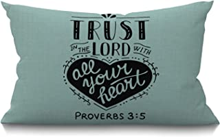 Smooffly Bible Christian Quote Throw Pillow Cover,Biblical Trust in The Lord with Your Heart Jesus Testament Scripture Pro...