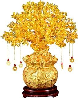 Veemoon Feng Shui Citrine Arbre d'argent Arbre de Citrine en Cristal avec des Pièces de Richesse pour La Richesse Chance M...