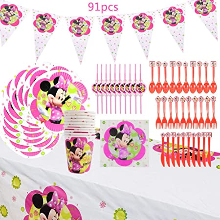 WENTS Set de Fiesta de cumpleaños de Minnie 91PCS Disney Minnie Mouse Party Decoration Set Platos Tazas Servilletas Pack de Fiesta reciclable Minnie Mantel Sirve para 10 Invitados