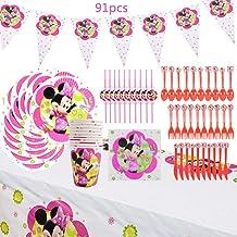 Set de fiesta de cumpleaños de Minnie WENTS 91PCS Disney Minnie Mouse Party Decoration Set Platos Tazas Servilletas Pack de fiesta reciclable Minnie Mantel Sirve para 10 Invitados