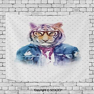 Fashionable Personality Tapestry Home Decoration Background Elastic Living Room,Quirky Decor,Intellectual Tiger with Scarf Torn Denim Jacket and Glasses Watercolor Artwork Decorative,Multicolor
