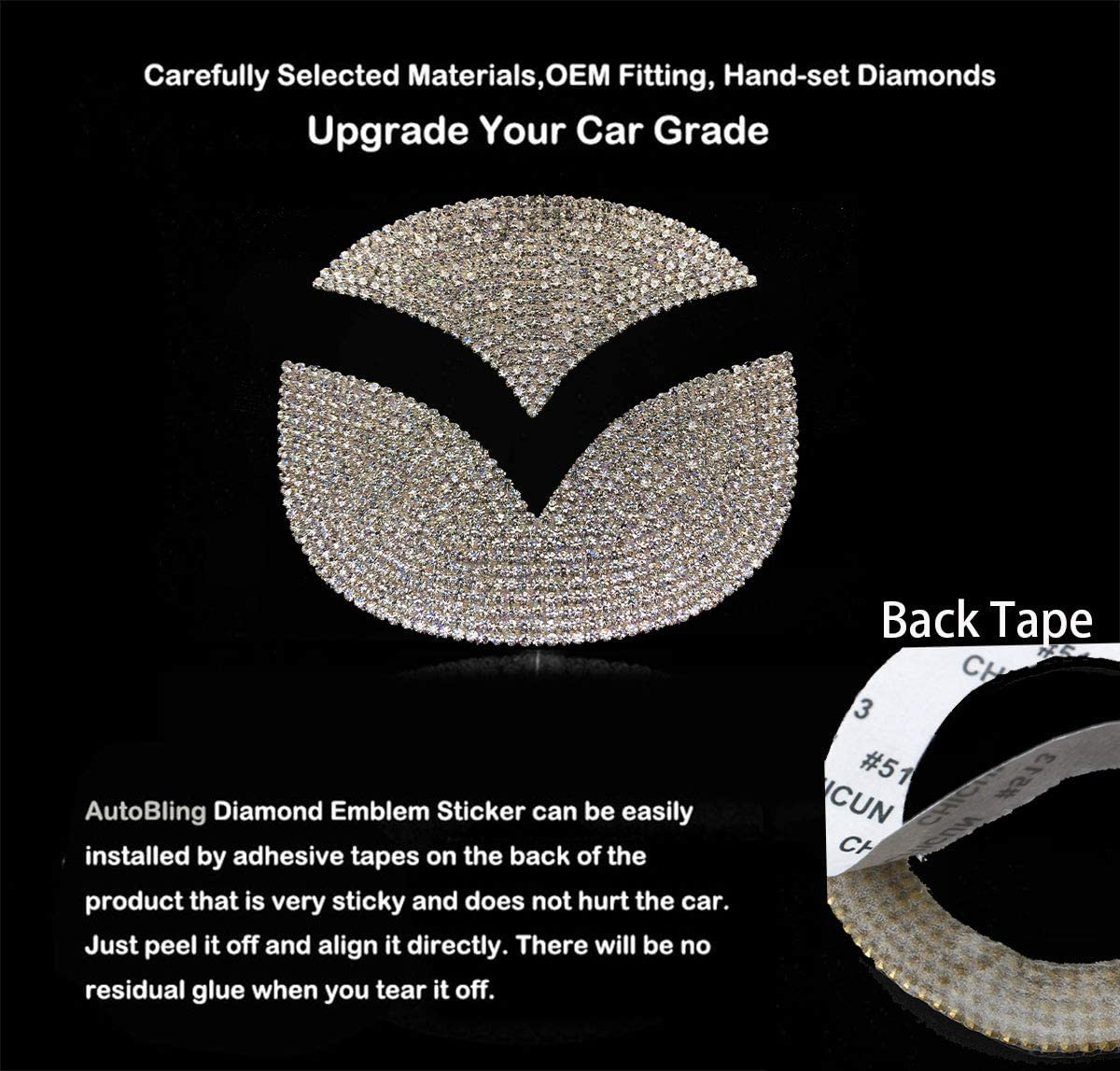 Bling Bling Car Steering Wheel Emblem Decorative Diamond Accessories Sticker Compatible With Ford,DIY Bling Car Steering Wheel Emblem Bling Accessories