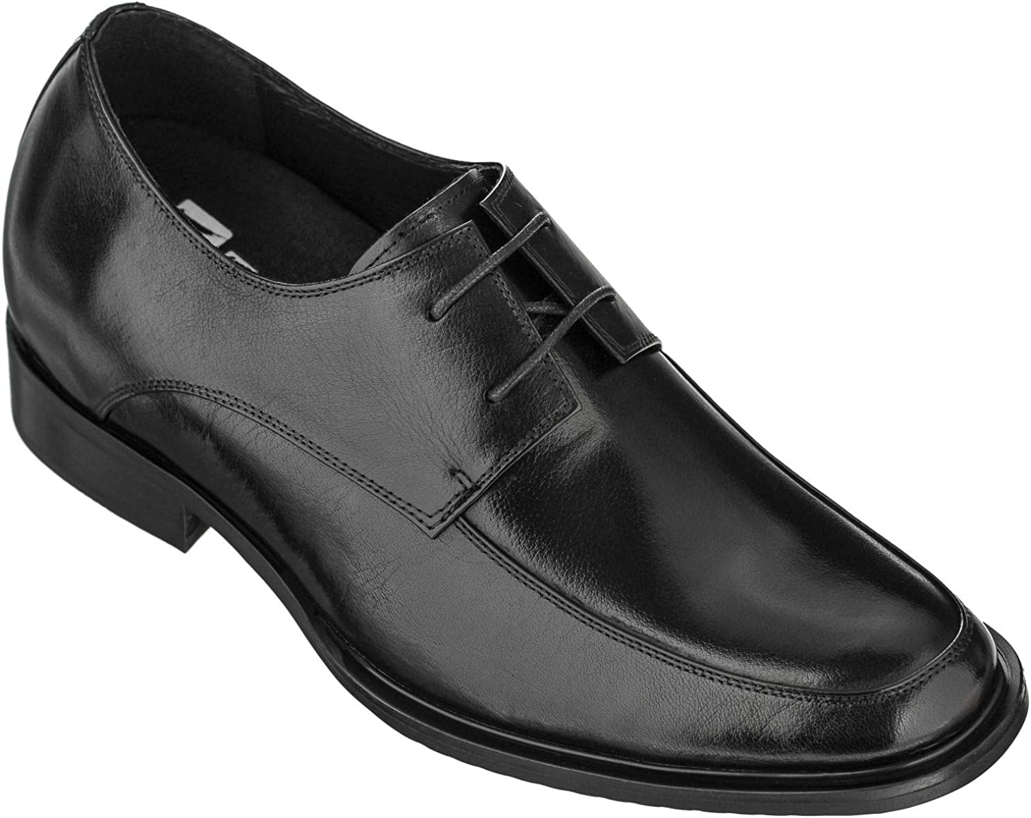 TOTO Men's Invisible Height Increasing Elevator Dress Shoes - Black Premium Leather Lace-up Formal Oxfords - 2.8 Inches Taller - T1501