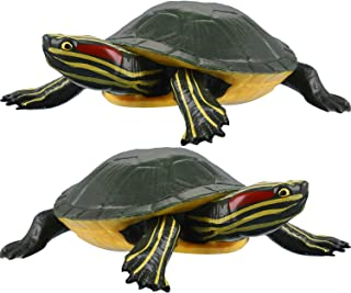 2 Pieces Plastic Turtles Brazilian Turtle Red-Eared Slider Turtle Figures Fun Toys Ponds and Aquarium Decorations Educational Toys for Boy Girl