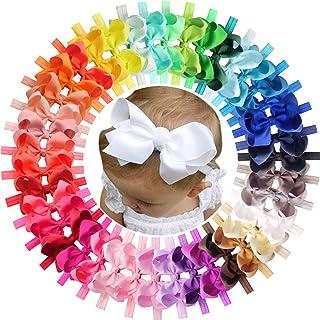 "40pcs Baby Girls Headbands 4.5"" Hair Bows Elastic Hair Band Hair Accessories for Infants Newborn"