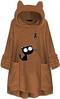 JKLING Women Fleece Cat Fish Print Sweater Winter Fuzzy Warm Cat Ear Hood Plus Size Tops Sweatershirt with Pocket