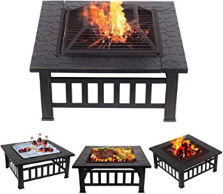 TimmyHouse Outdoor Metal Fire Pit Backyard Patio Garden Square Stove FirePit Heater 32