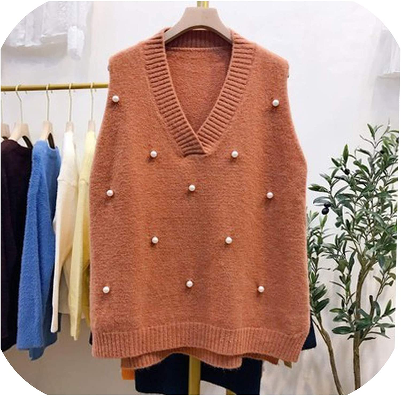 koweis Women Pearl Knitted Vest Female Waistcoat Casual Tank Tops Sleeveless Sweater