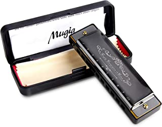 Mugig Harmonica, C Key Harmonica for Beginners or Kids, 10 Holes 20 Tones, 1.2mm Plate Structure, Stainless Steel Cover, with Carry Box, Black (Standard)