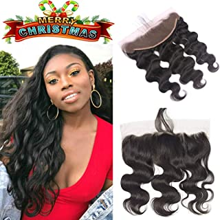 Ear to Ear Lace Frontal Malaysian Body Wave Human Hair with Closure 8A Malaysian Virgin Hair Body Wave Lace Frontal Closure Free Part with Baby hair (16 inch frontal, Natural Color)