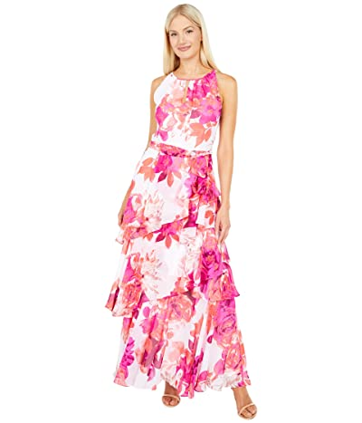 Tahari by ASL Tiered Dress w/ Ruched Neck