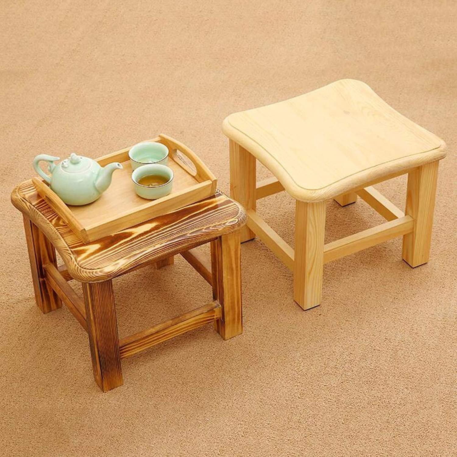 GBXX Small Furniture AntiSlip Stool Footstool Work Stool Shower Stool Step Stool Solid Wood Square Short Small Bench NonSlip Mat Distressed Carbonization Multifunction Household Creative