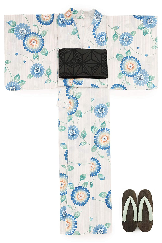 (ソウビエン) 浴衣 セット レディース 薄茶色 ベージュ 水色 ブルー ピンポンマム 菊 花 水玉 綿麻 兵児帯 マクレ ボヌールセゾン