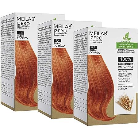 MEILAB - Tinte permanente sin amoniaco - Pack de 3 unidades - Color Rubio claro cobrizo #8-4