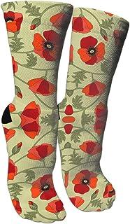 靴下 抗菌防臭 ソックス ポピー赤アスレチックスポーツソックス、旅行&フライトソックス、塗装アートファニーソックス30センチメートル長い靴下