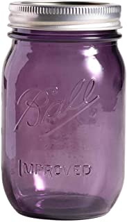 Ball Mason Jar Purple/Silver - Glass Pint (16 oz) Airtight Lids and Bands - Great for Cookies, Spice, Apothecary, Canning,...
