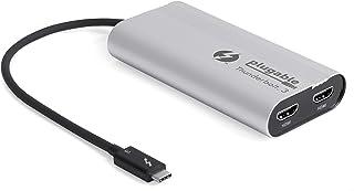 Plugable Thunderbolt 3 HDMI ディスプレイ アダプタ デュアルモニター(Windows、Mac システム用)4K@60Hz x 2 台まで接続