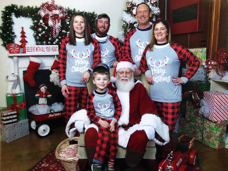 Yaffi Family Matching Pyjamas Set Christmas Festival Outfits Two Pieces Deer Nightwear Sleepwear PJs Lounge Wear