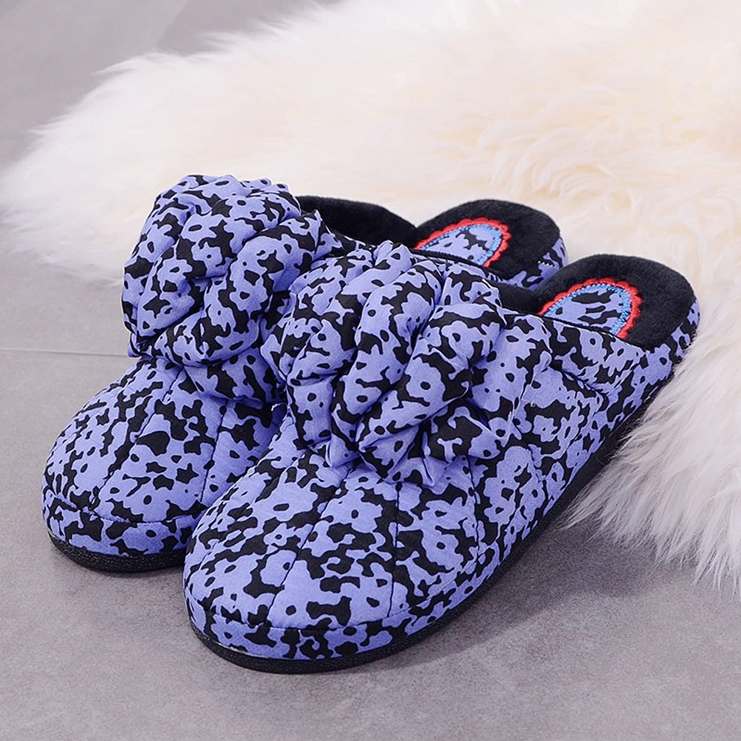 Female cotton slippers autumn and winter non-slip cute thick home indoor warm slippers ( color   Purple , Size   EUR 37-38 )