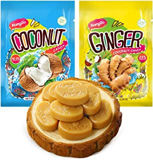 NANGUO Coconut Candy & Ginger Coconut Candy Bundle, 2 pack 5.29 oz,150g,30pcs From China