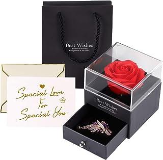 Becoyou Rosa Eterna, Flores Preservadas con Broche Flores Artificiales Rosa de Cristal Rosa Preservada para la Boda del dí...