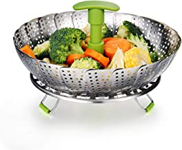 Vegetable Steamer Basket Stainless Steel Food Steamer Veggie Steamer Insert with Extendable Handle, Cooking Steamer Expandable to Fit Various Size Pot (7