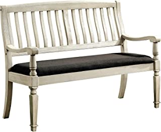 William's Home Furnishing Georgia Love Seat Bench, Antique White & Gray