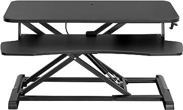 VIVO Stand Up Height Adjustable 32 inch Desk Riser, Sit Standing Converter, Dual Monitor and Laptop Workstation, Black, DE...