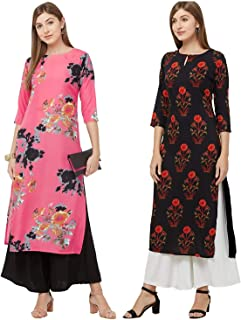 GoSriKi Women's Multicolor Printed Straight Kurta Pack of 02 (Dabba-Pink & GUL-Black)