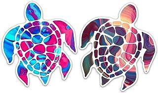 "Sea Turtle Vinyl Car Decal Bumper Sticker Removable - Color Splash (Set of 2) (5"")"