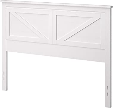 Farmhouse Style Wood Panel Headboard in Gloss White - Queen Size