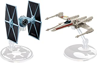 Hot Wheels Star Wars Rogue One Tie Fighter Blue vs. X-Wing Red 2 Wings Open Vehicle (2 Pack)