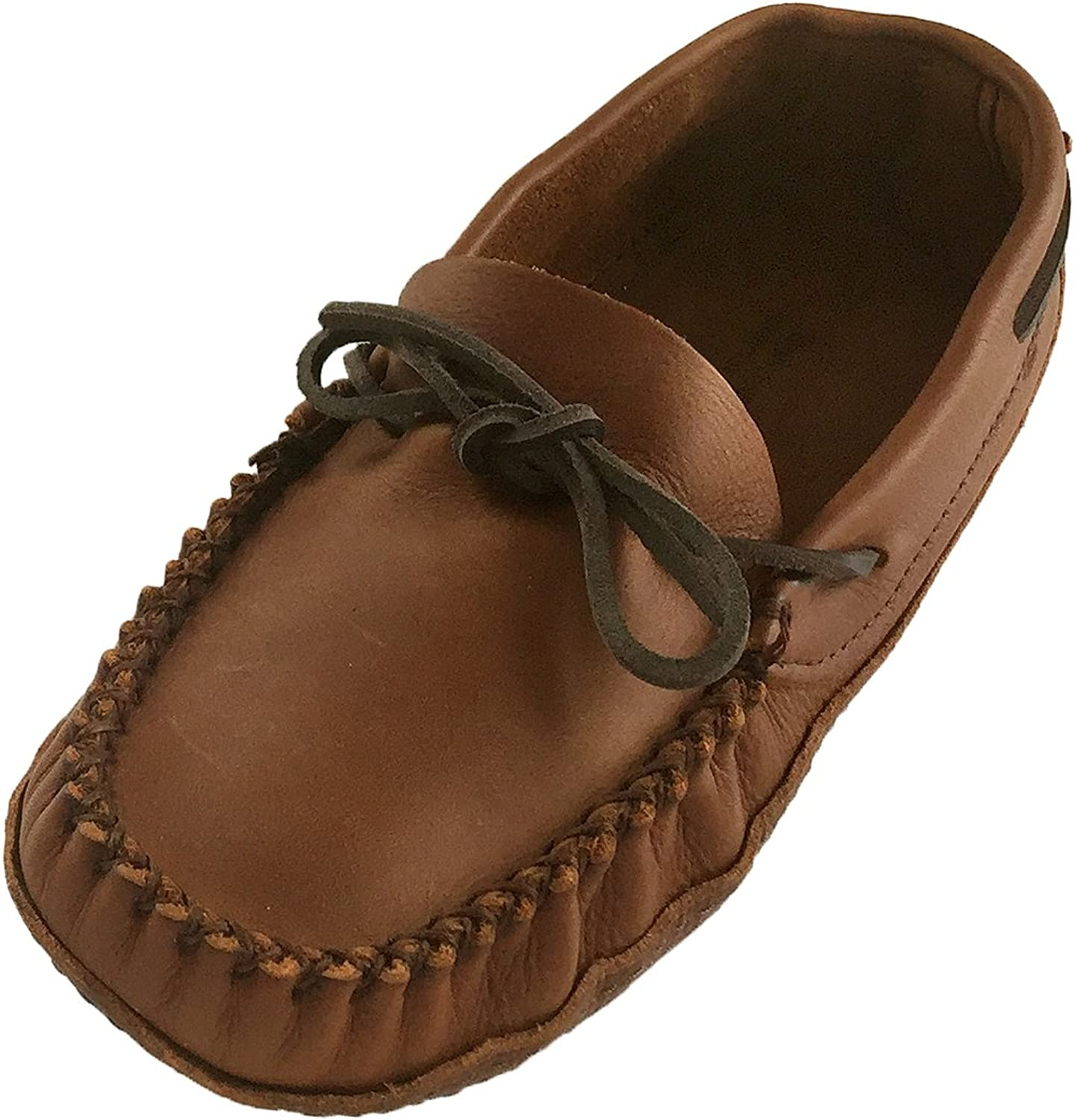 Wakonsun Men's Wide Width Earthing Grounding Natural Brown Leather Moccasins
