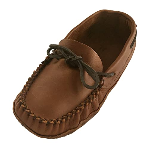 Alfred Cloutier Wakonsun Mens Wide Width Earthing Grounding Natural Brown Leather Moccasins