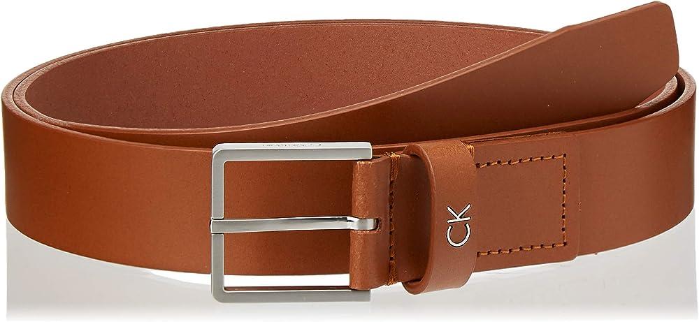 Calvin klein, cintura per uomo, in vera pelle con fibbia in metallo, marrone chiaro K50K504300B