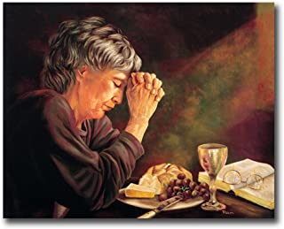 Gratitude Old Lady Praying At Dinner Table Daily Bread Woman Religious Wall Picture 8x10 Art Print
