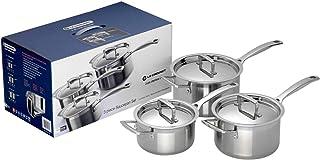 Le Creuset 3-Ply Set de 3 cazos con tapa, 6 piezas, Ø 16/18/20 cm, acero inoxidable, volumen 1,9/2,8/3,8 L, para todo tipo de fuentes de calor (incl. inducción), metálico