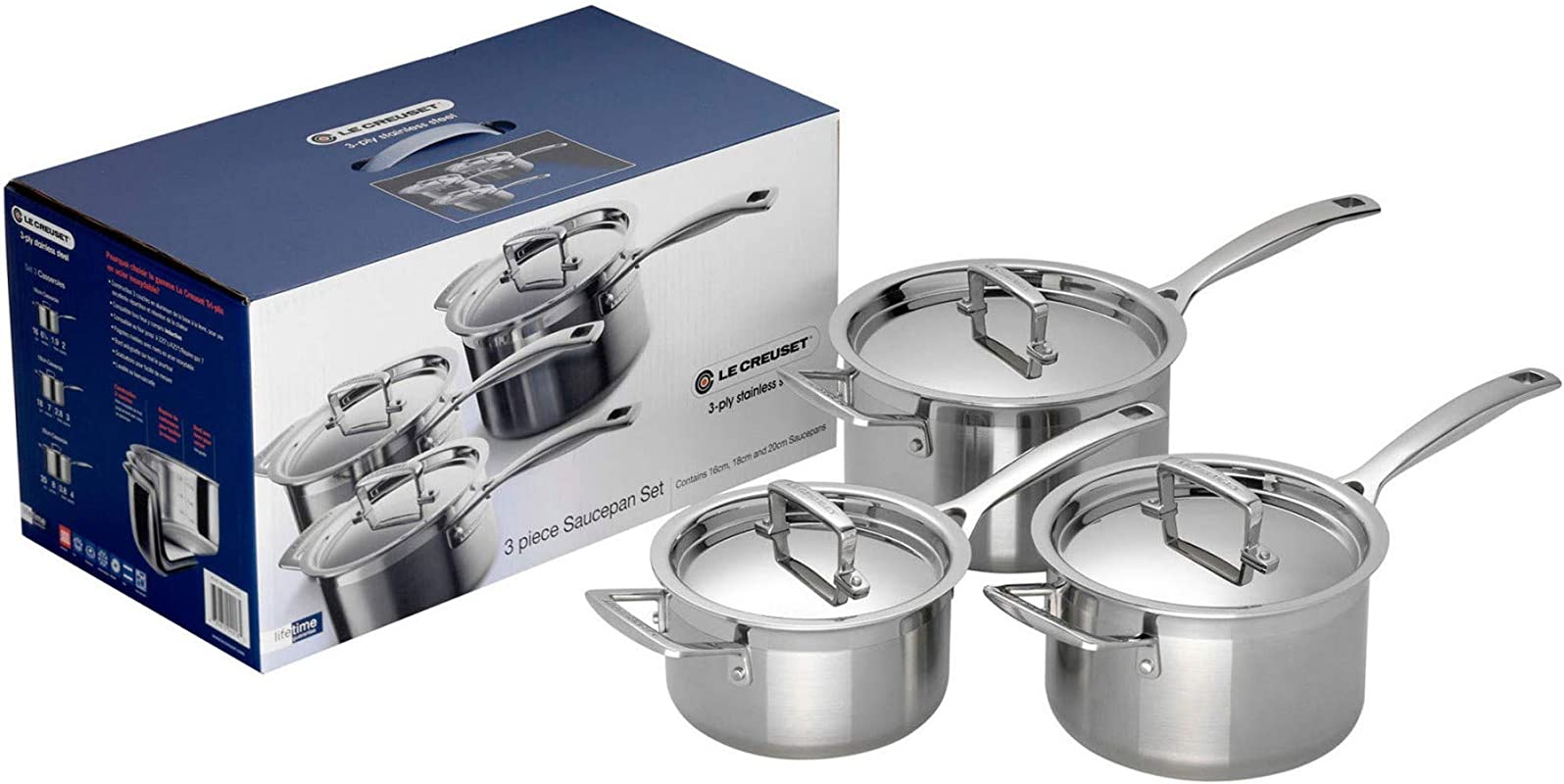 Le Creuset 3 Ply 3 Piece Set Stainless Steel