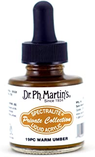 Dr. Ph. Martin's Spectralite Private Collection Liquid Acrylics (19PC) Arcylic Paint Bottle, 1.0 oz, Warm Umber
