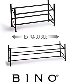 BINO Stackable 2 Tier Expandable Shoe Rack - 6-12 Pair Shoe Shelf Tower Storage Organizer, Black