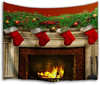 WAOU Wall Hanging Nature Art Fabric Tapestry -Christmas Interior Decoration-59x51 inches(150x130cms)-Christmas Stocking Fireplace